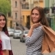 Girls With Shopping Bags On City Street - VideoHive Item for Sale