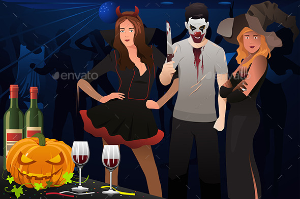 Adults Dressing Up in Halloween Costumes - Halloween Seasons/Holidays