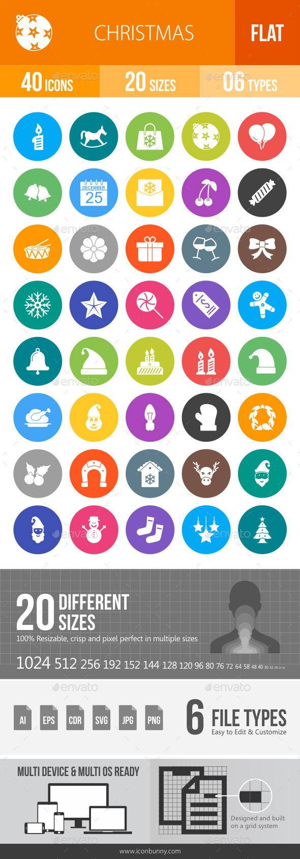Christmas Flat Round Icons - Icons