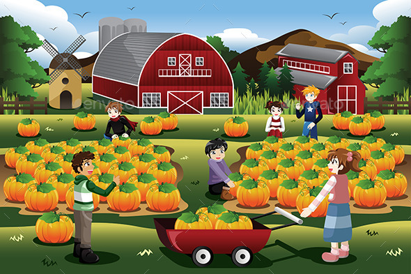 Kids on a Pumpkin Patch Trip - People Characters