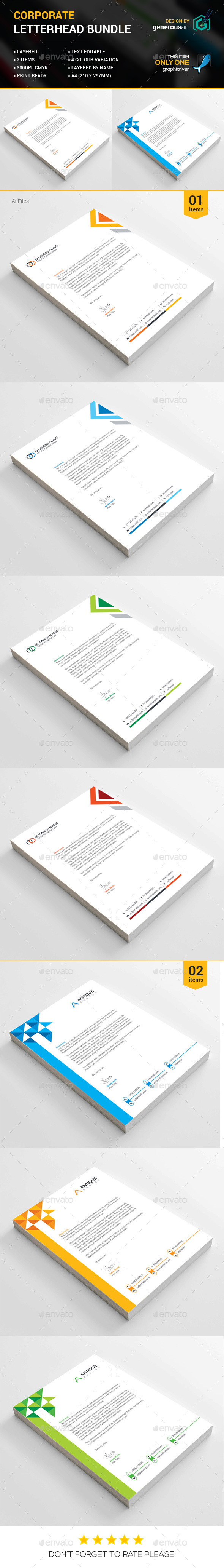 Letterhead Bundle 2 in 1_vol.2 - Stationery Print Templates