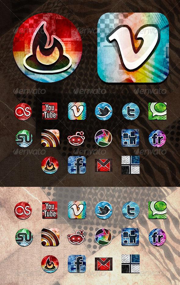 Vintage grunge social media icons set - Web Icons