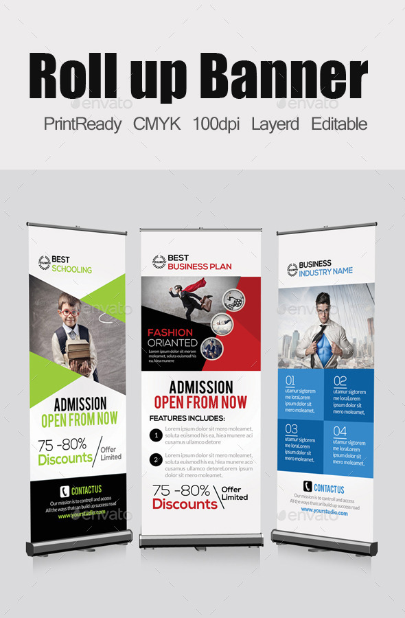 3 Business Roll Up Banners Template - Signage Print Templates