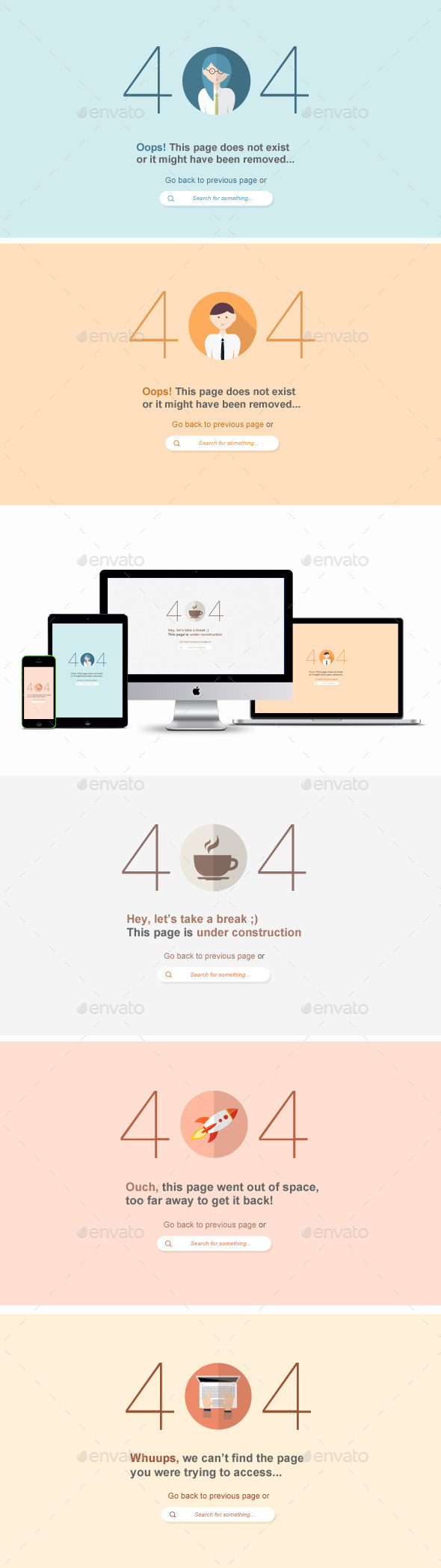 Flat 404 Error Web Pages - 5 Items - PSD - 404 Pages Web Elements