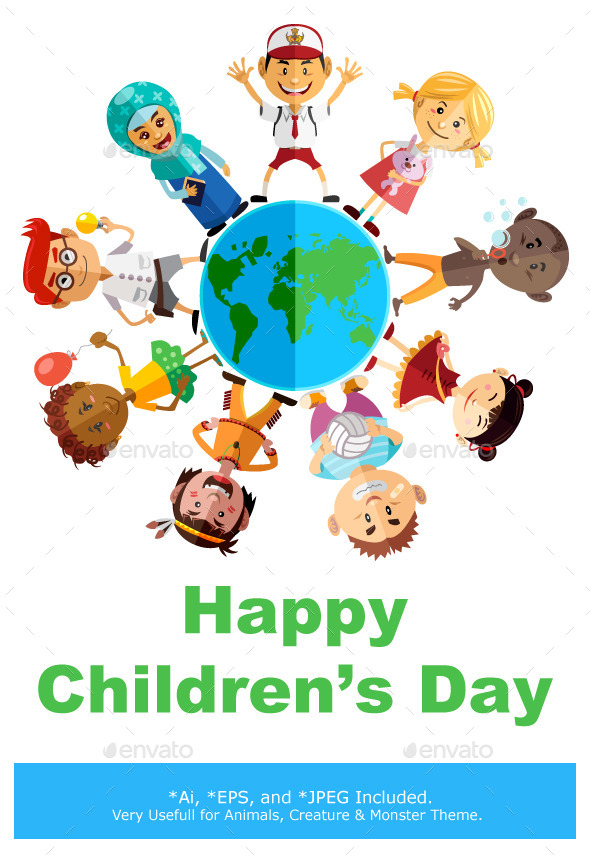 Happy Children Day Illustration - People Characters