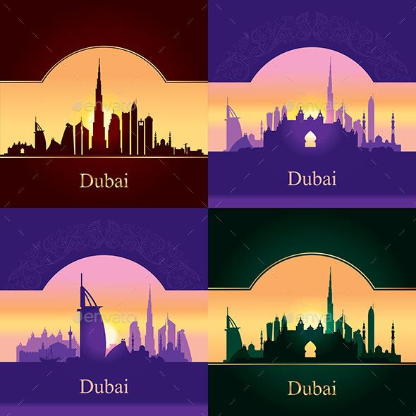 Dubai Skyline Silhouette on 4 Colored Backgrounds - Backgrounds Decorative