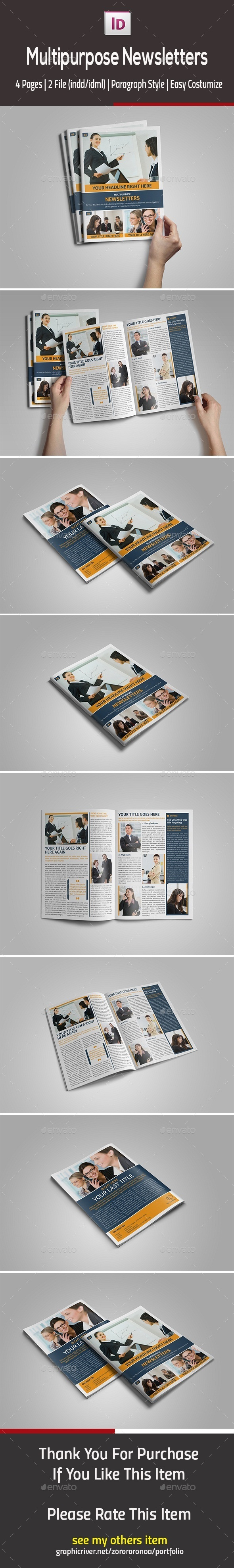 Multipurpose InDesign Newsletters - Newsletters Print Templates