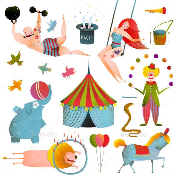 Circus Carnival Show Clip Art Vintage Collection