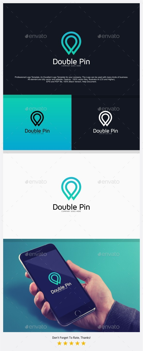 Double Pin Find Place Logo