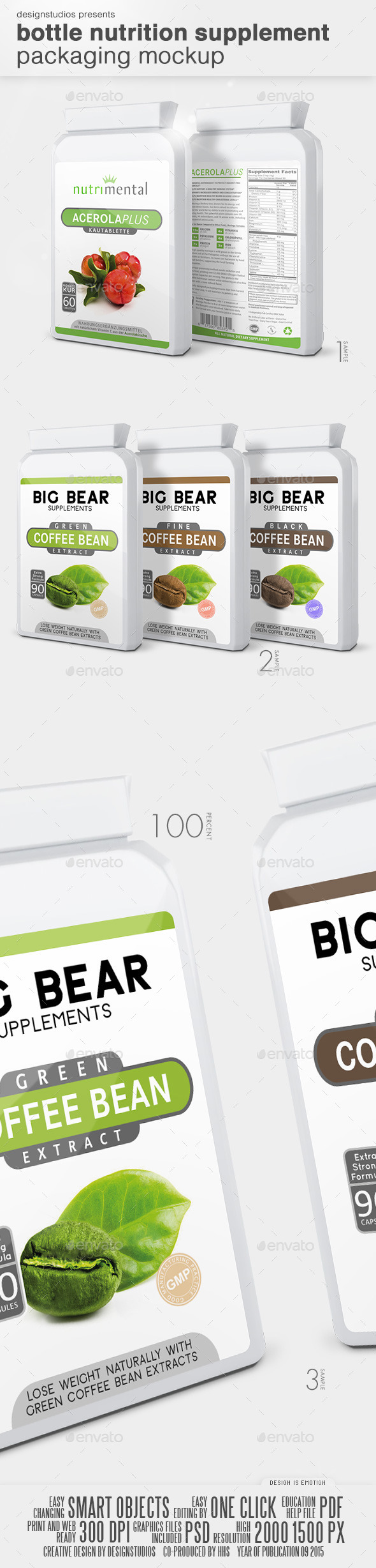 Bottle Nutrition Supplement Packaging Mock-Up - Miscellaneous Print