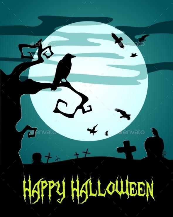 Happy Halloween Poster wWith Raven - Halloween Seasons/Holidays