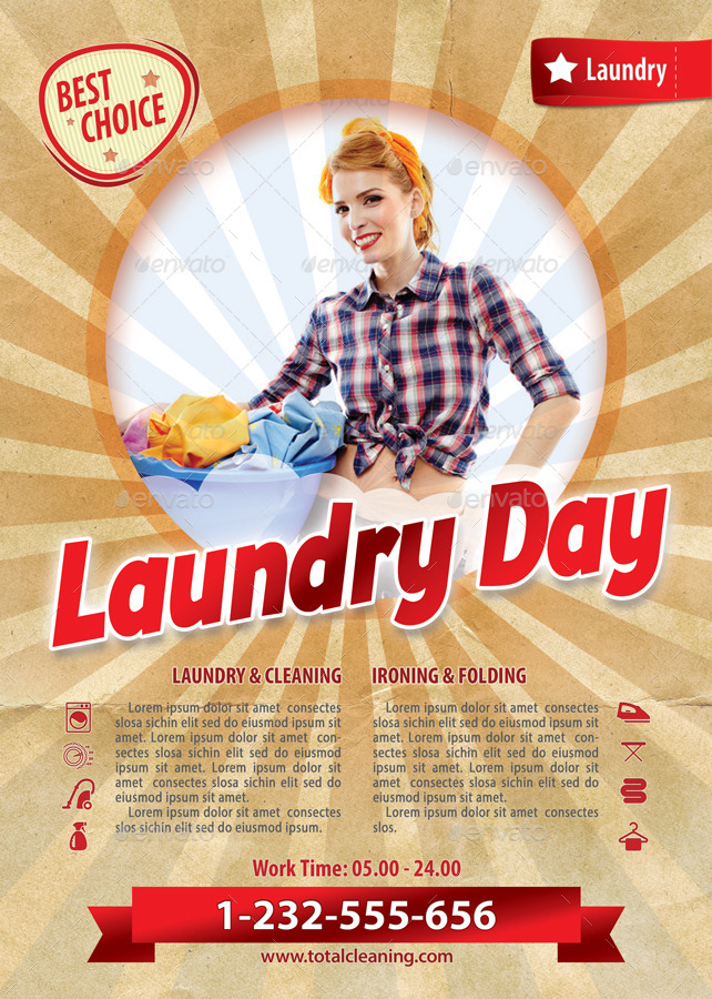 Retro laundry day flyer template 117 by 21min graphicriver for Laundry flyers templates
