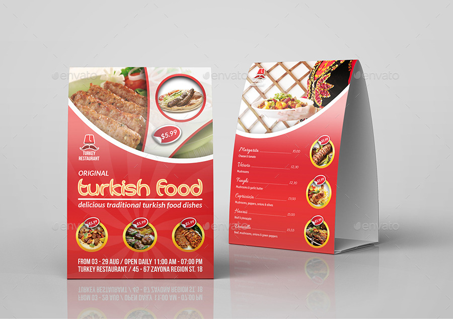 Turkish Restaurant Table Tent Template By OWPictures GraphicRiver - Restaurant table tent template