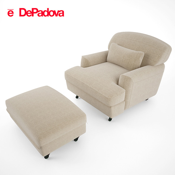 De Padova - Raffles Armchair and Ottoman - 3DOcean Item for Sale