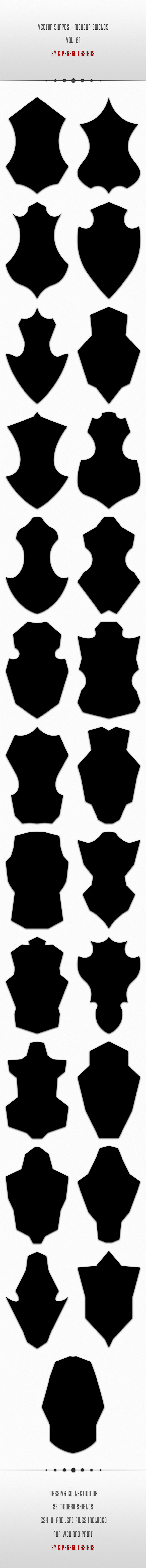 Vector Shapes - Modern Shields Vol. 01 - Symbols Shapes