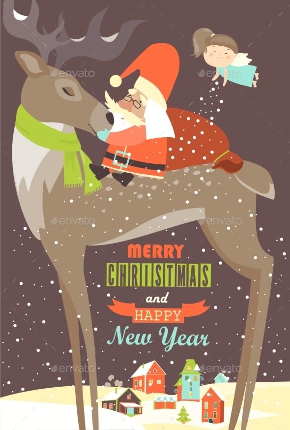Santa Claus Sitting On Reindeer - Christmas Seasons/Holidays