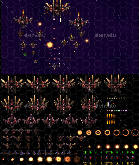 2D Space Shooter Kit - Sprites Game Assets