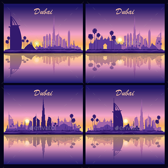 Dubai Skyline Silhouette Backgrounds - Backgrounds Decorative