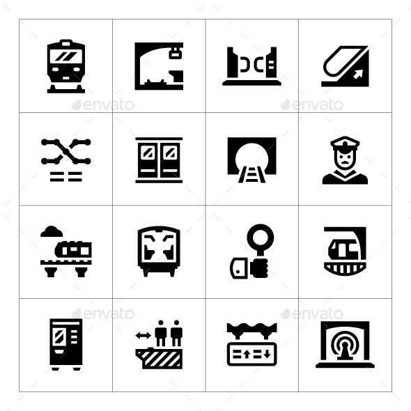 Set Icons of Subway - Man-made objects Objects