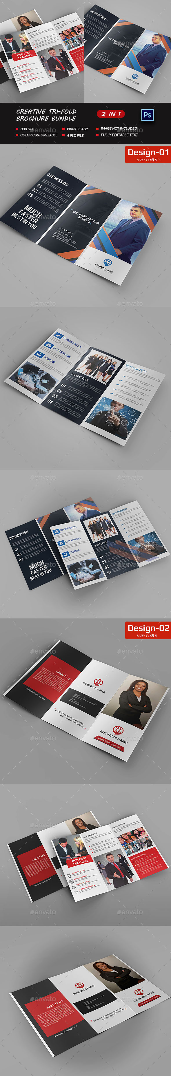 Corporate Tri-fold Brochure Bundle - Brochures Print Templates