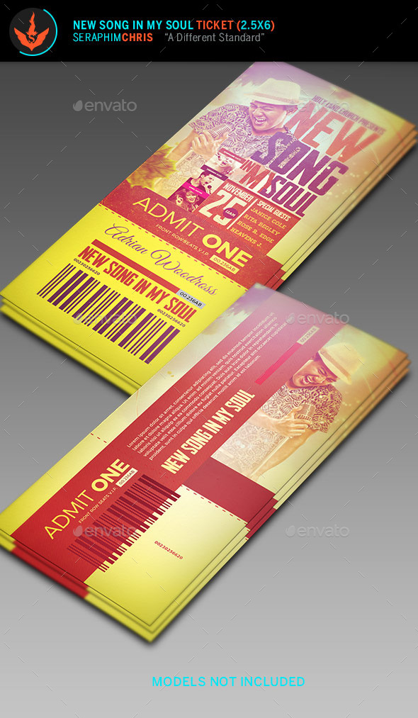 New Song in My Soul Ticket Template  - Miscellaneous Print Templates