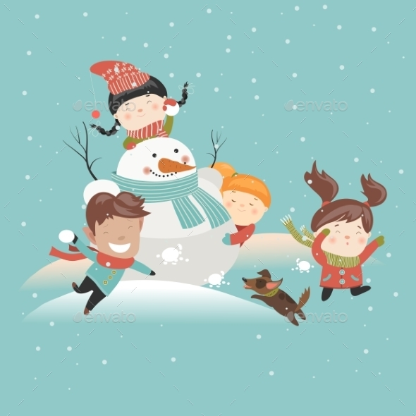 Funny Kids Playing Snowball Fight - People Characters