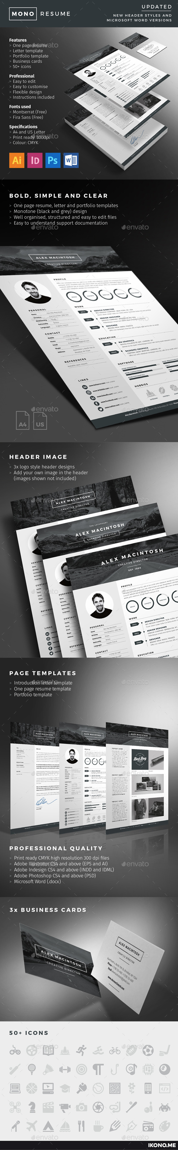 Mono Resume - Resumes Stationery