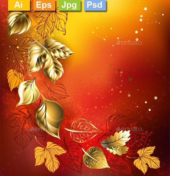 Golden Autumn Leaves - Backgrounds Decorative