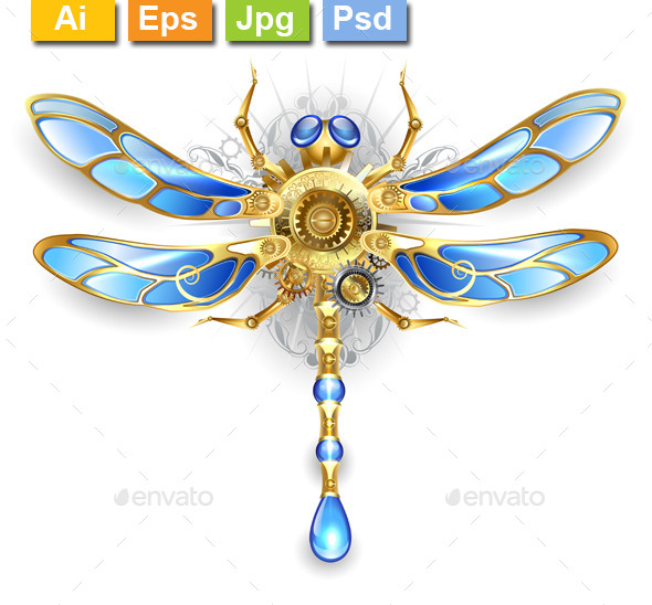 Mechanical Dragonfly on a White Background - Monsters Characters