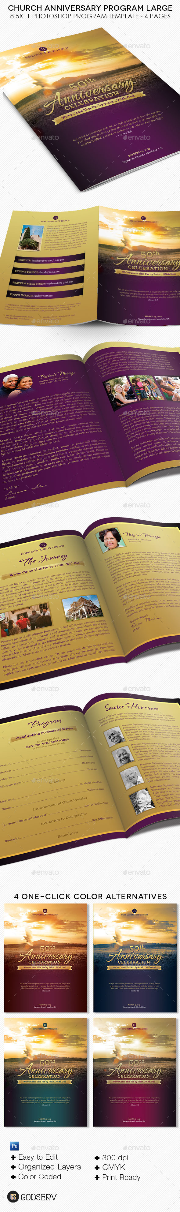 Church Anniversary Service Program Large Template - Informational Brochures