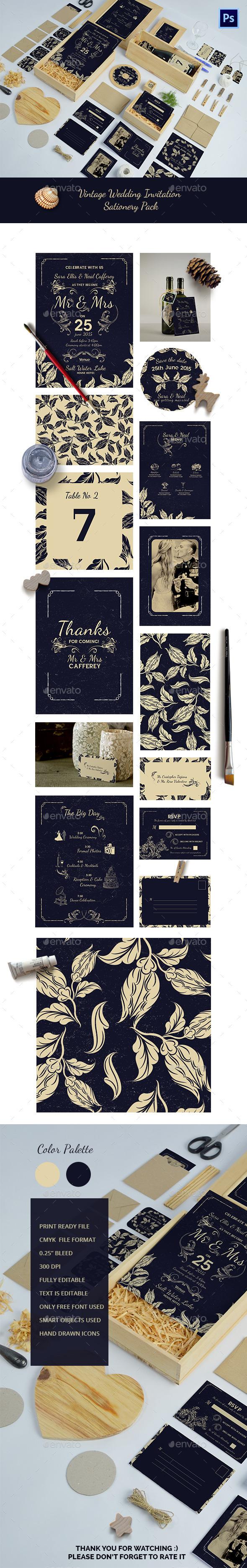 Wedding Invitation Package - Cards & Invites Print Templates
