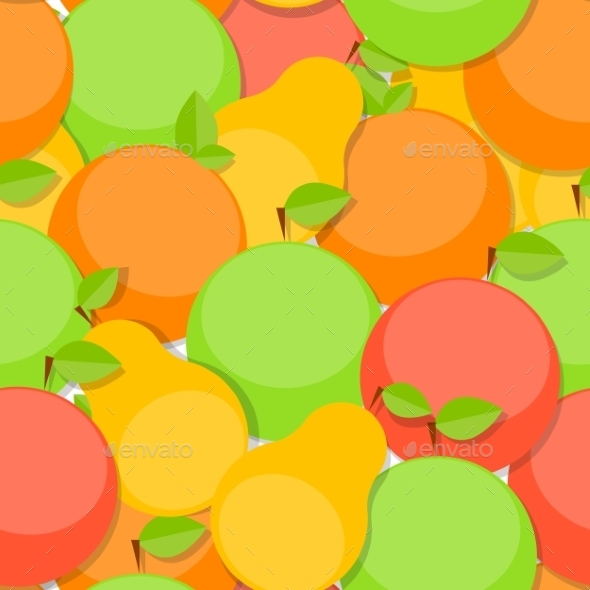 Seamless Pattern Background From Apple, Orange - Patterns Decorative