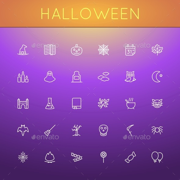 Vector Halloween Line Icons - Seasonal Icons