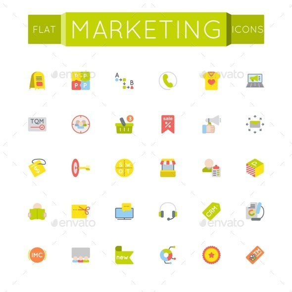 Vector Flat Marketing Icons - Business Icons