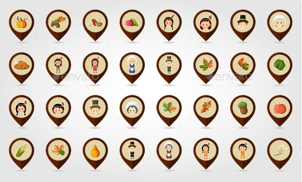 Thanksgiving Harvest Mapping Pin Icon Set