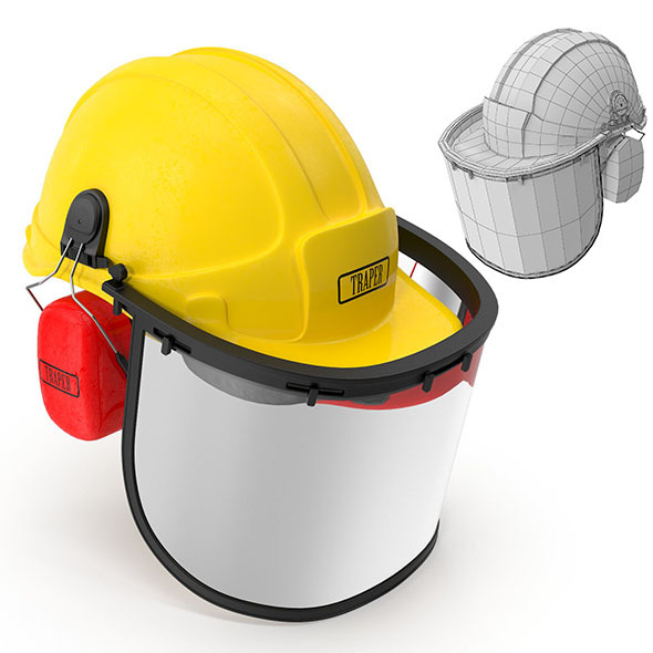 Safety Helmet with Face and Ears Cover - 3DOcean Item for Sale