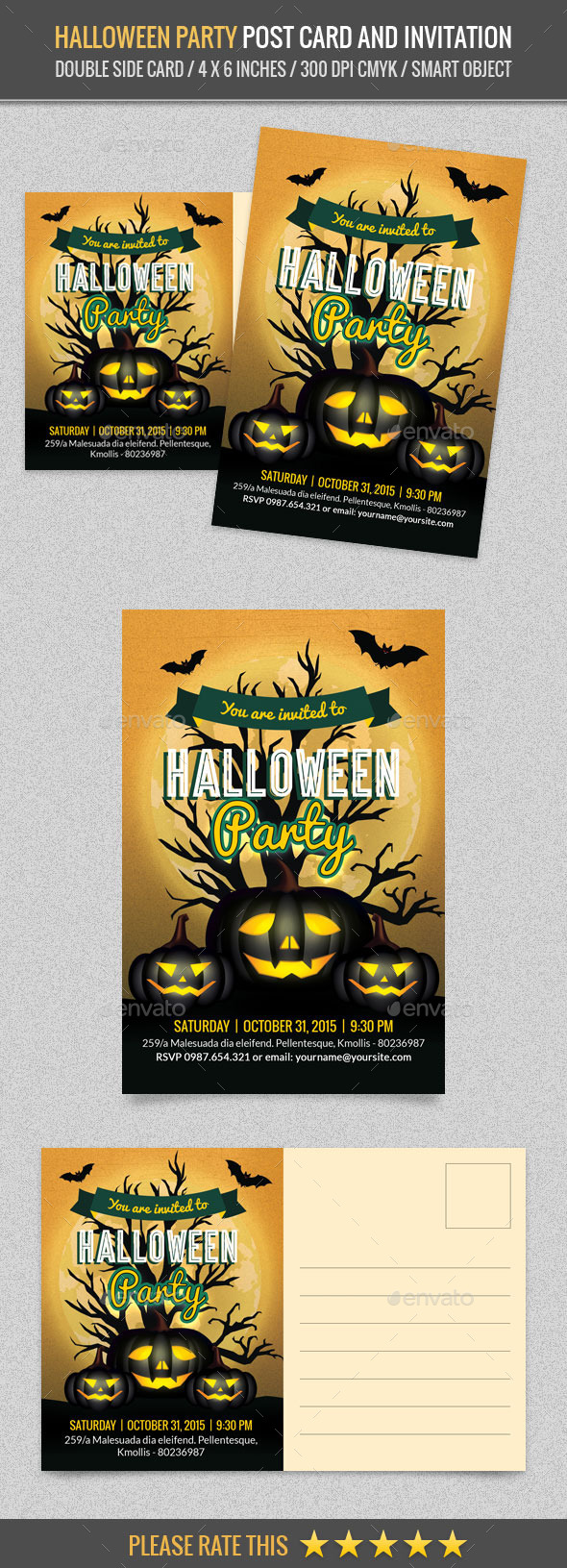Halloween Party Post Card Template - Cards & Invites Print Templates