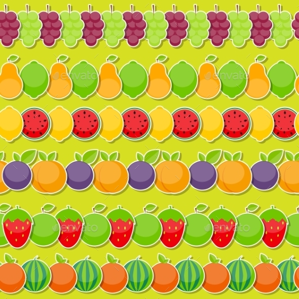 Seamless Pattern Background From Apple, Orange - Objects Vectors