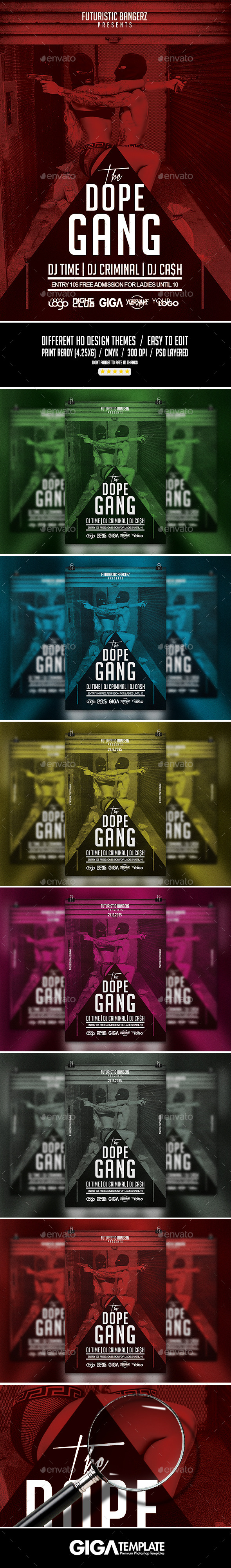 The Dope Gang | Hip-Hop Modern Flyer PSD Template - Events Flyers
