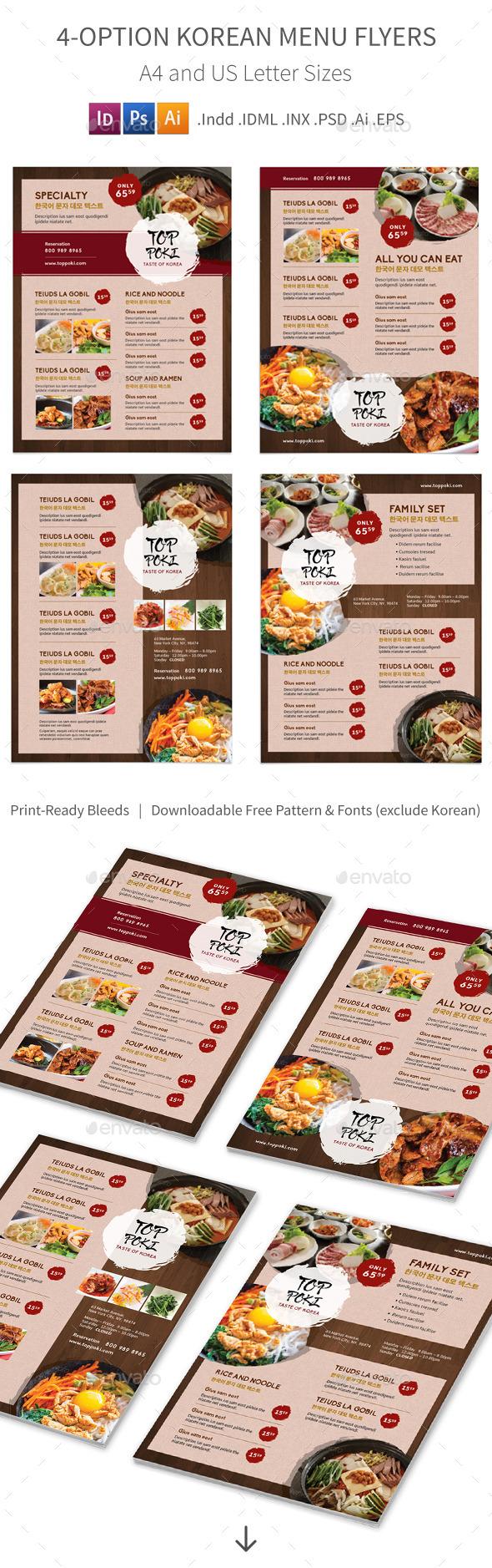 Korean Restaurant Menu Flyers – 4 Options - Food Menus Print Templates