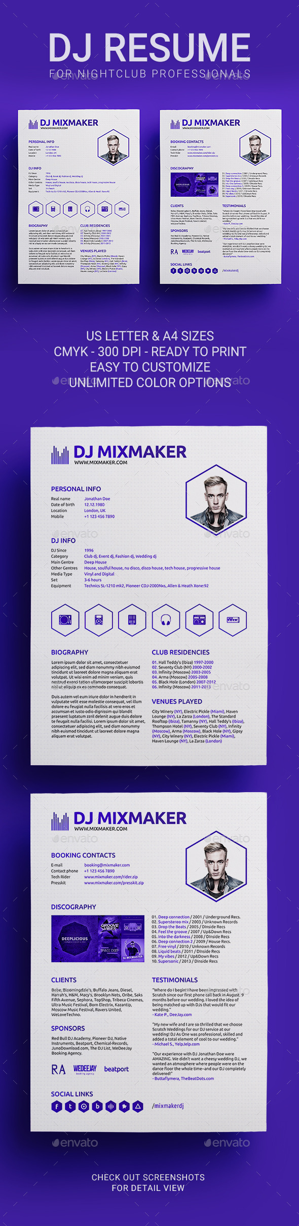 MixMaker - DJ Resume / Press kit PSD Template - Resumes Stationery