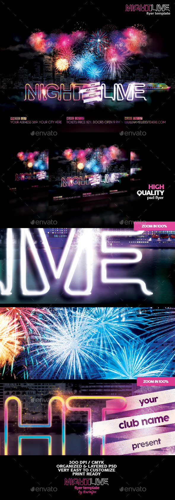 Night Live Flyer Template