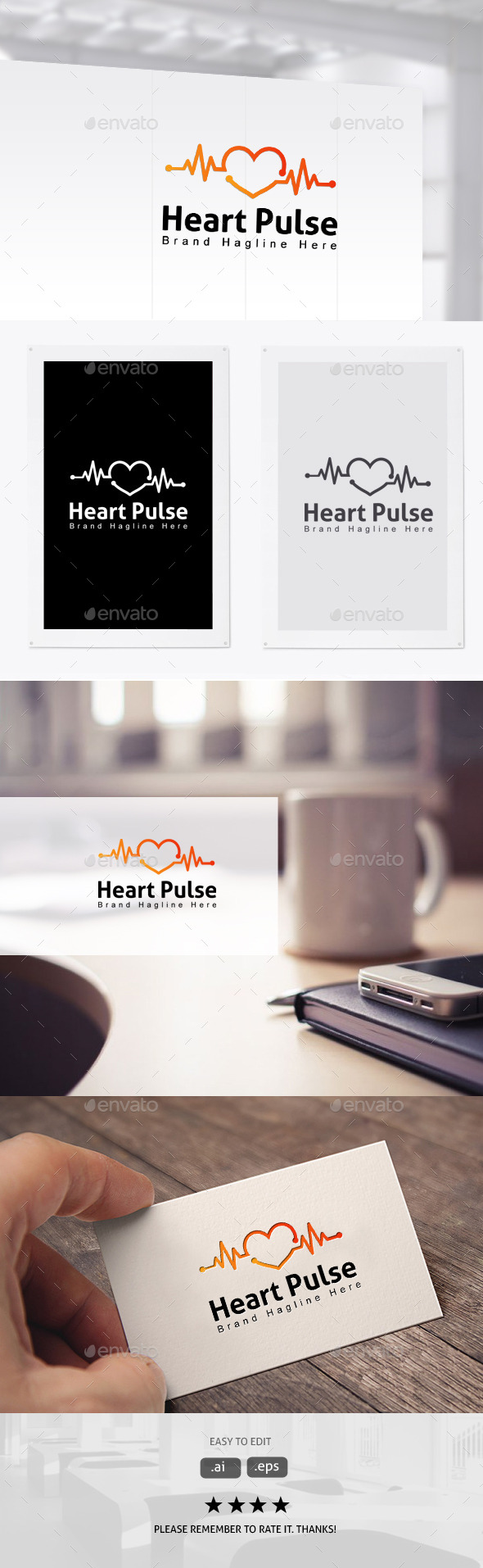 Heart Pulse - Symbols Logo Templates