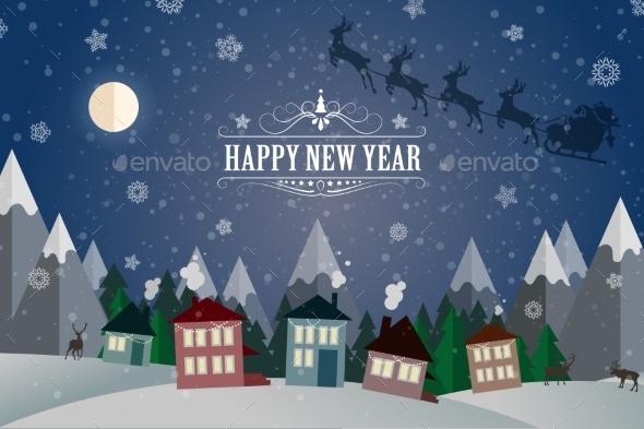 New Year Winter Holidays Landscape- Night Street. - Christmas Seasons/Holidays