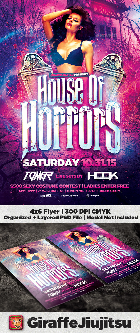House of Horrors Flyer Template - Clubs & Parties Events