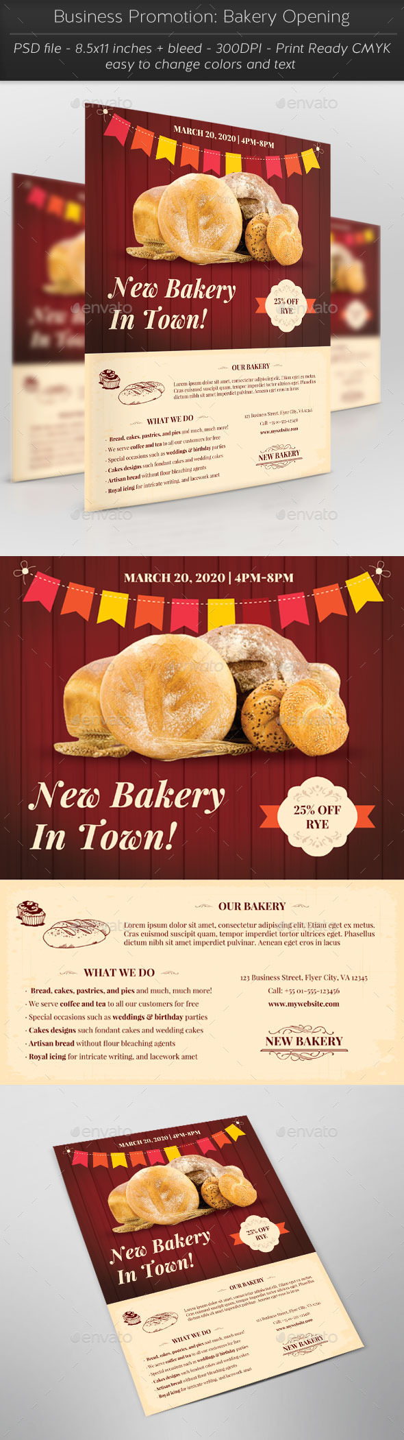 Business Promotion: Bakery Opening - Flyers Print Templates