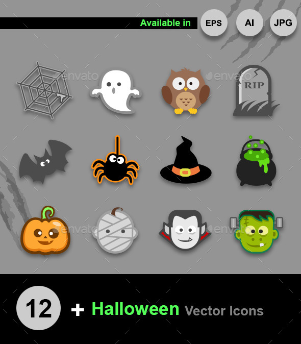 Halloween vector icons - Monsters Characters