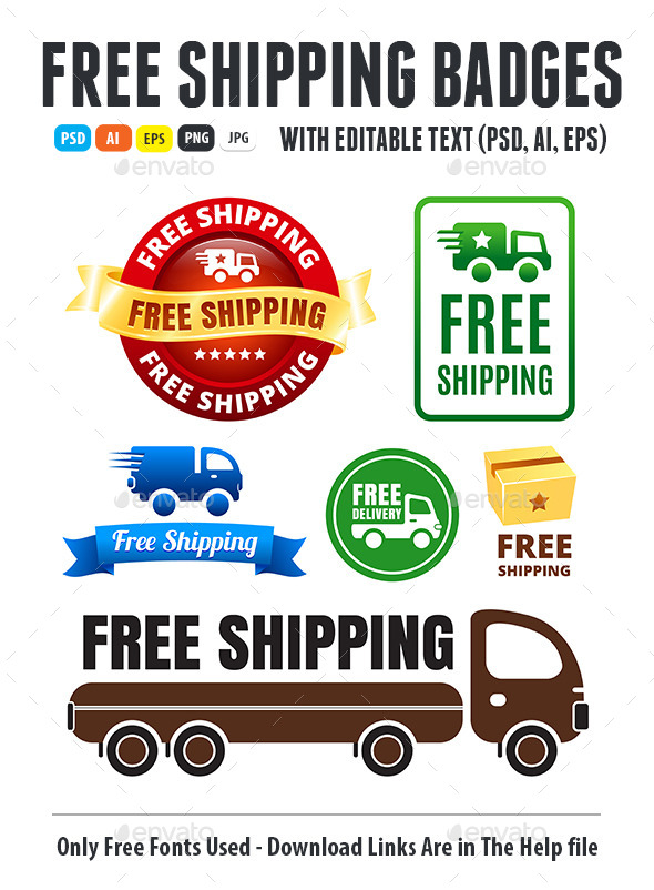 Free Shipping Badges - Badges & Stickers Web Elements