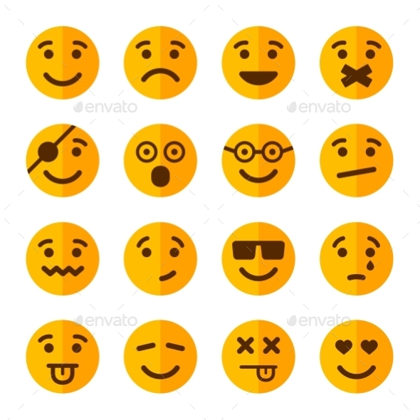 Flat Style Smile Emotion Icons Set. Vector - Web Icons