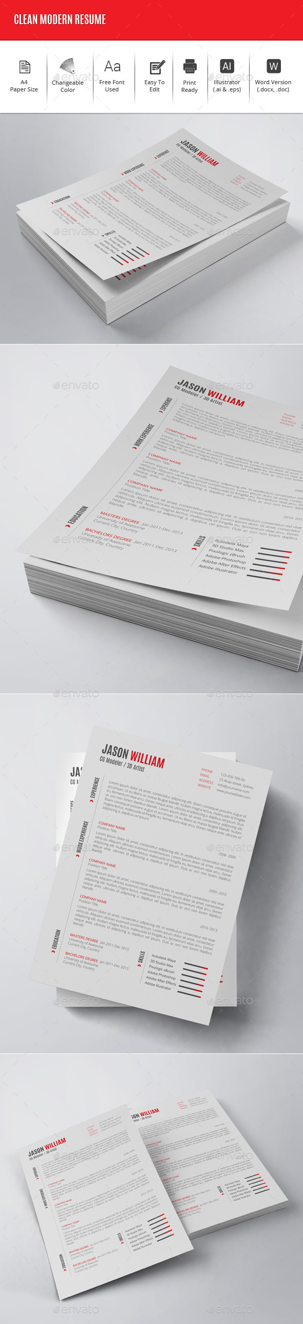 Clean Modern Resume - Resumes Stationery